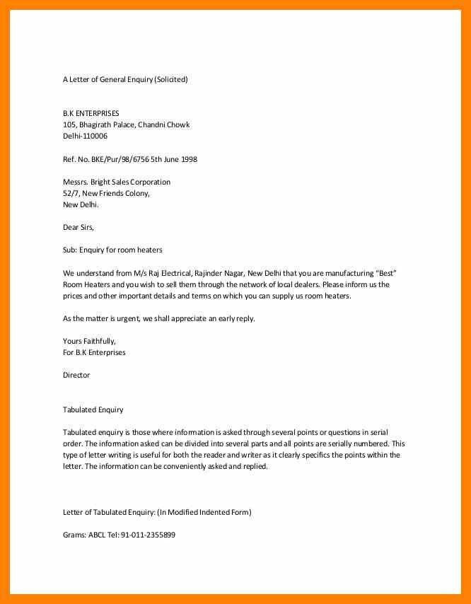 Inquiry Letters Example [Template.billybullock.us ]