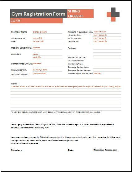 Gym Registration Forms for MS Word & Excel | Word & Excel Templates