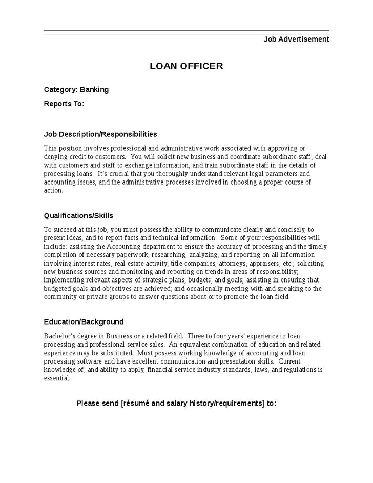 Mortgage Loan Officer Job Description Sample | RecentResumes.com