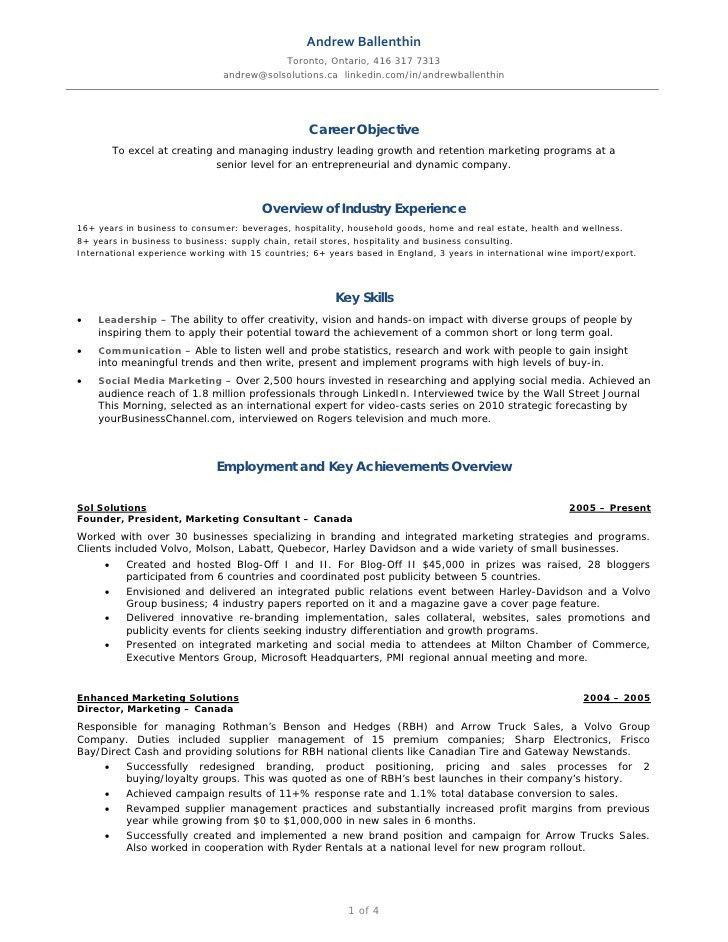 Andrew Ballenthin Marketing & Social Media Resume