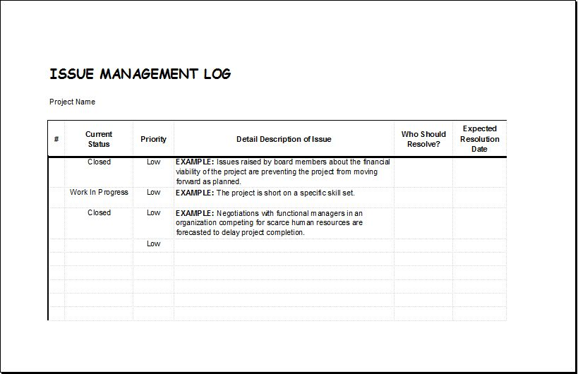 Issue Management Log Template for EXCEL | Excel Templates