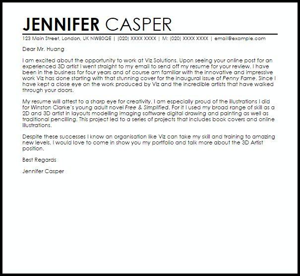 3D Artist Cover Letter Sample | LiveCareer