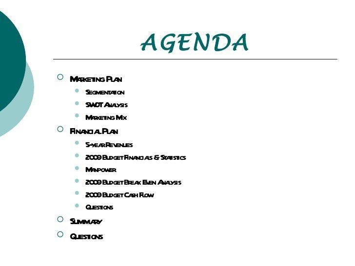 Budget Presentation  Banquet Agenda Template