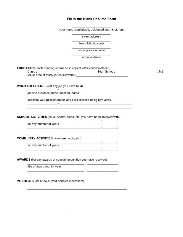 How To Fill A Resume | Samples Of Resumes