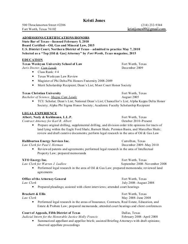 K Jones Legal Resume