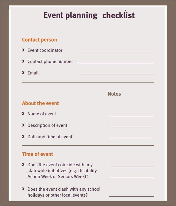 free event planning checklist | Ministry | Pinterest | Event ...