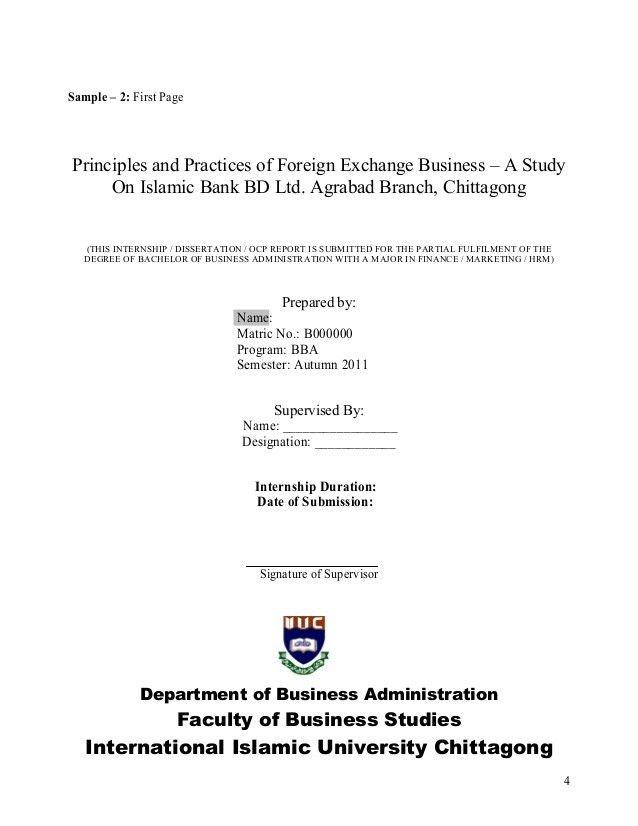 Guidelines For Preparing Internship Report