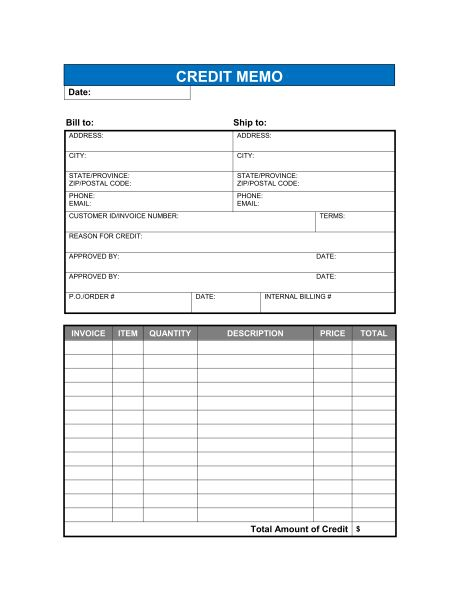 Credit Memo - Excel - Template & Sample Form | Biztree.com
