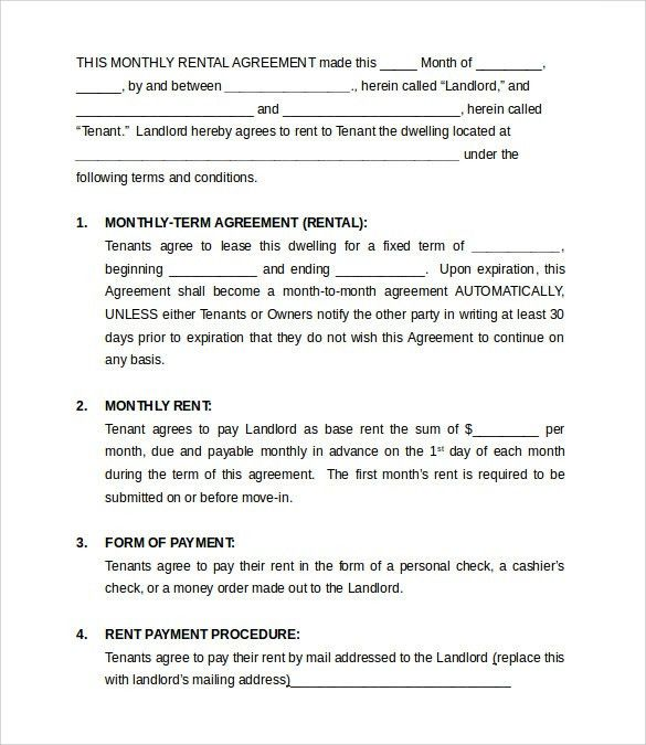 Monthly Rental Agreement Templates - 9+ Download Free Documents in ...