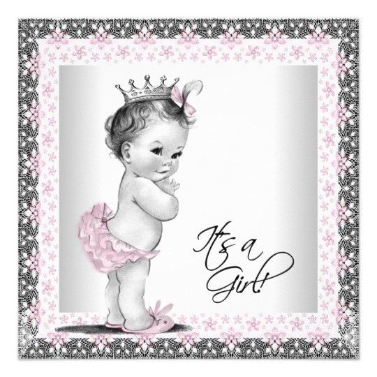 Pink And Black Baby Shower Invitations & Announcements | Zazzle