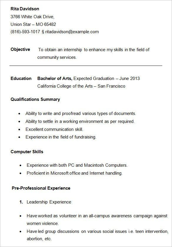 student resume college student resume for internship template