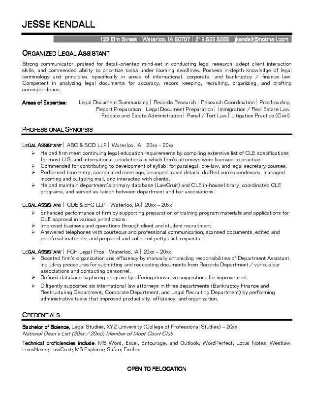 resume sample legal secretary resume samples legal assistant ...