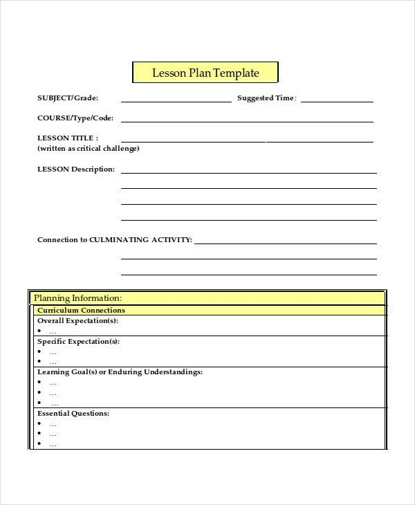 Lesson Plan Template - 10+ Free Word, PDF Document Downloads ...