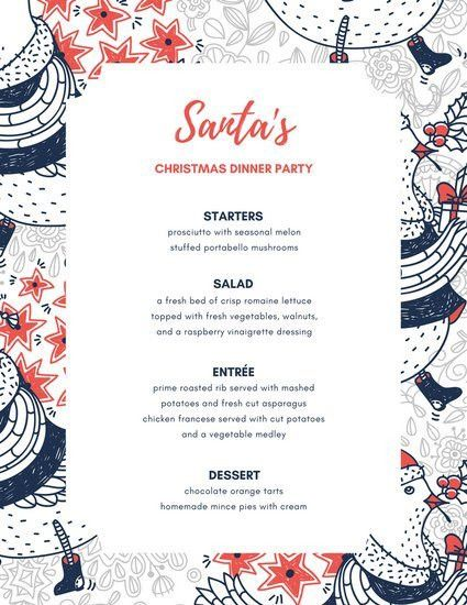 Blue Orange Holiday Illustration Dinner Party Menu - Templates by ...