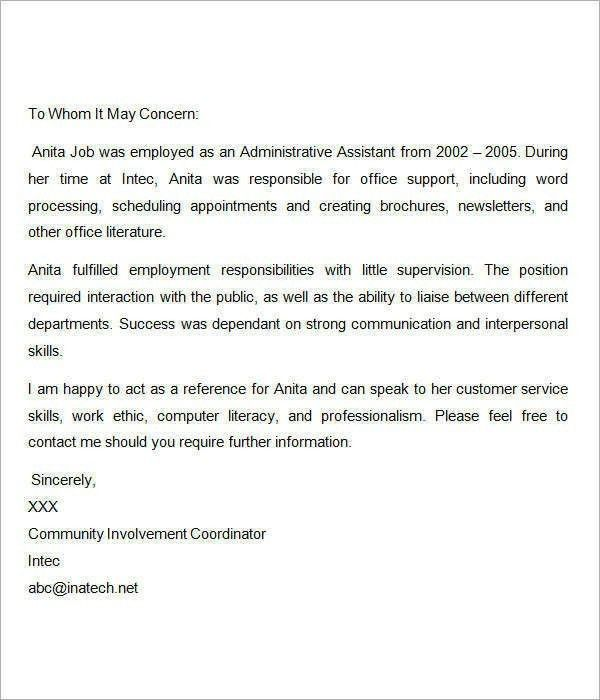 Recommendation Letter For Employee Template | The Letter Sample