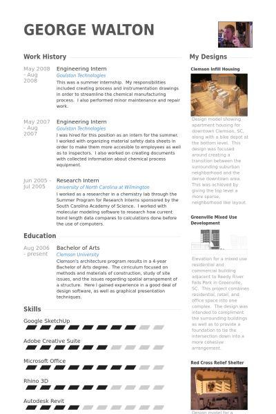 Engineering Intern Resume samples - VisualCV resume samples database