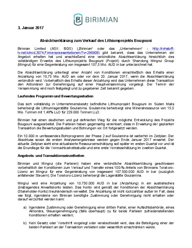 Letter of Intent for sale of the Bougouni Lithium Project ...