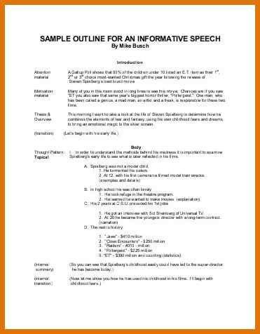 Speech Outline Example. Speech-Outline-Template-Download-Elevator ...