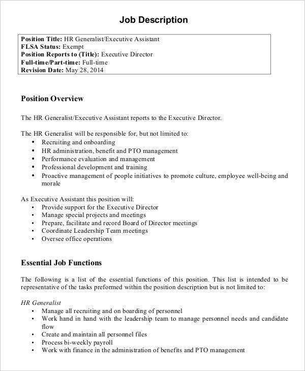 Executive Director Job Description. Hr Executive Assistant Job ...