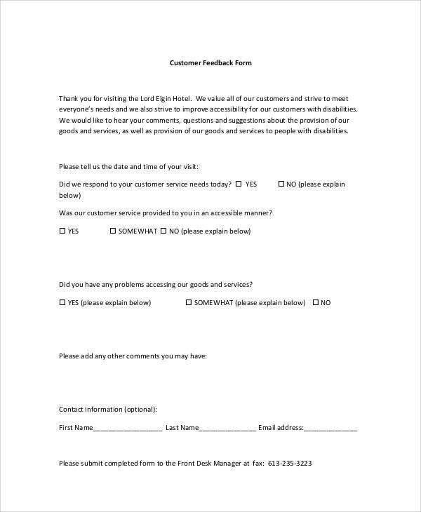 Sample Customer Feedback Form - 8+ Examples in Word, PDF