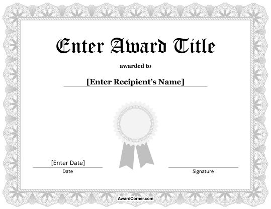 Silver Ribbon Certificate Template for Microsoft Word