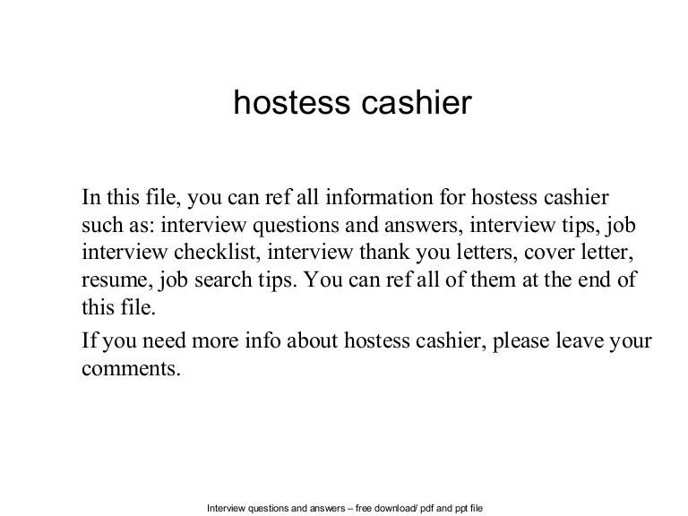 Hostess cashier
