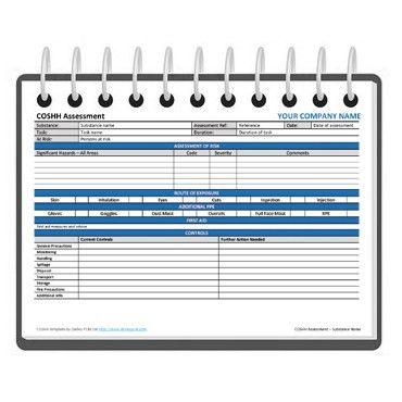 COSHH assessment form template - Free | Darley PCM