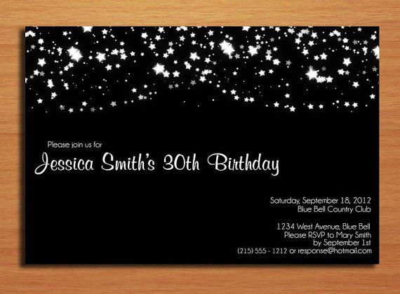 Elegant Starry Night Birthday / Customized Printable Adult ...
