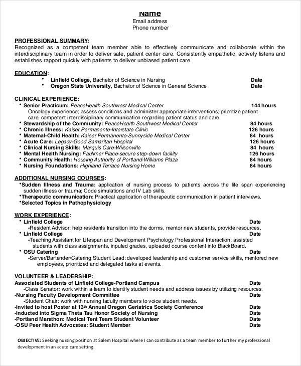 Ingenious Design Ideas Nursing Student Resume 1 Example Nurse - CV ...