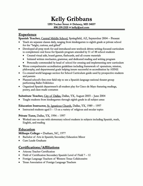 example teachers resume example resume teacher preschool sample ...