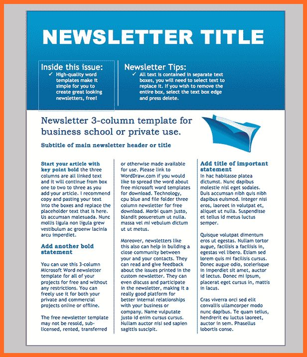 word newsletter template | soap format
