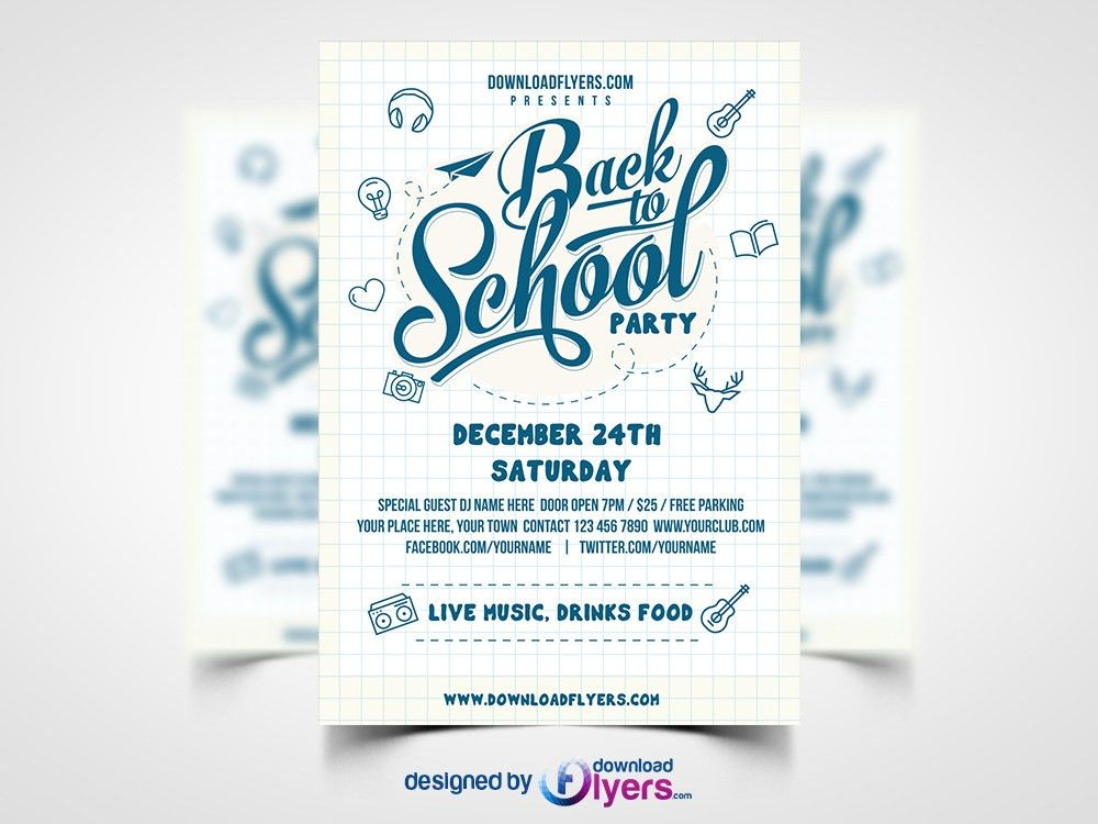 Back to School Party Flyer Template Free PSD Download - Download PSD