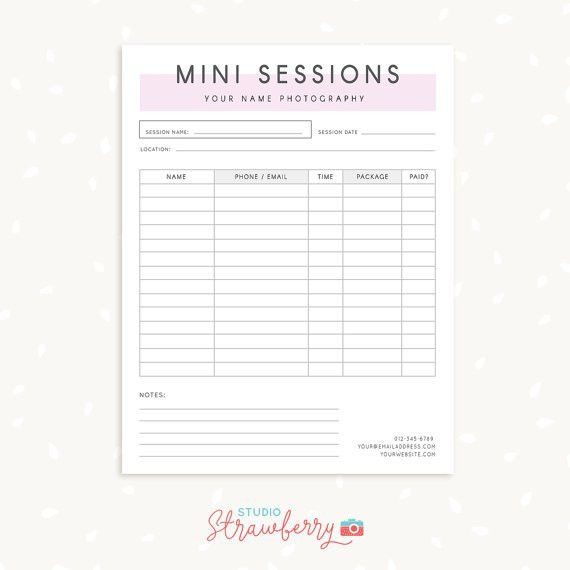 Mini session sign up form, Photography Forms, Photography Contract ...