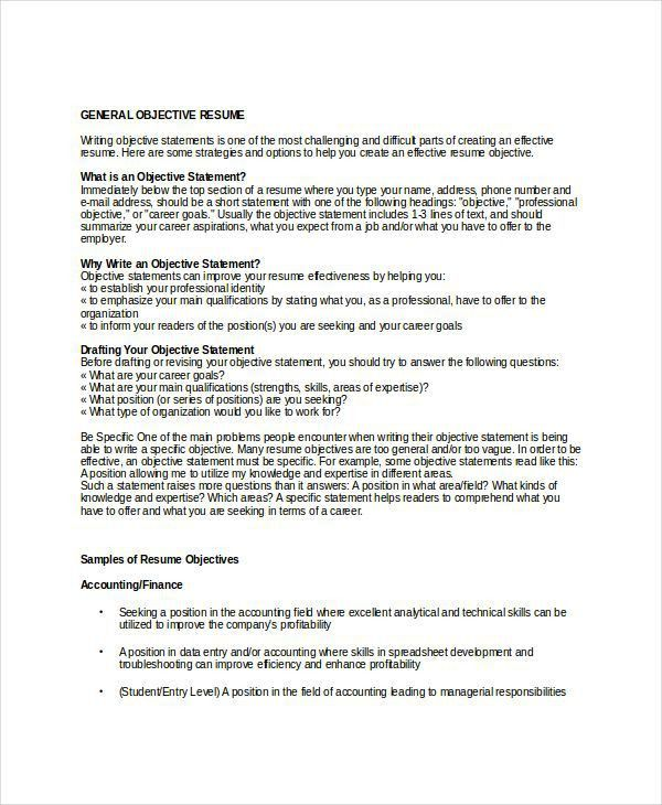 Download General Objectives For Resumes | haadyaooverbayresort.com