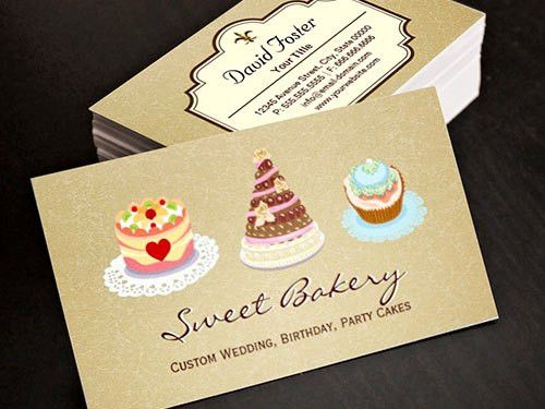 Wedding Birthday Cakes Business Card Template | Bakery Business ...