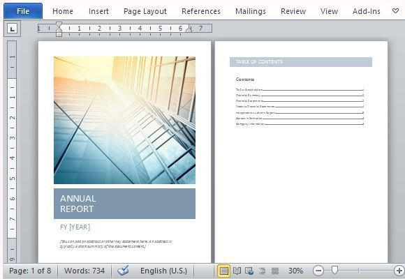 Annual Report Template With Cover Photo