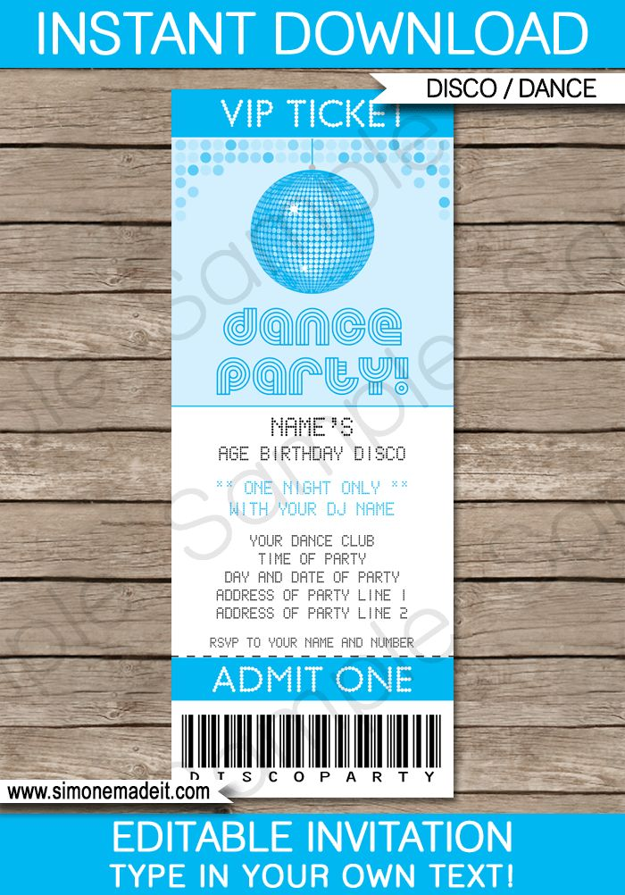 Blue Dance Theme Party Ticket Invitations for kids   Printable ...