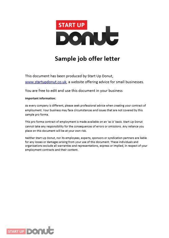 Job offer letter template | Startup Donut