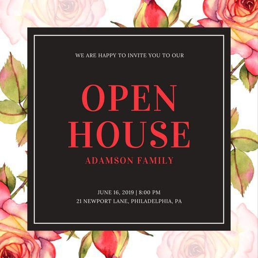 Black and White Floral Open House Invitation - Templates by Canva