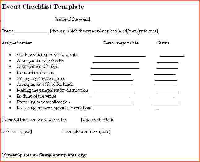 5+ Event Planning Checklist Template   Bookletemplate.org