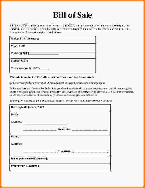 Blank Bill Of Sale Form. Free Download General Bill Of Sale Form ...