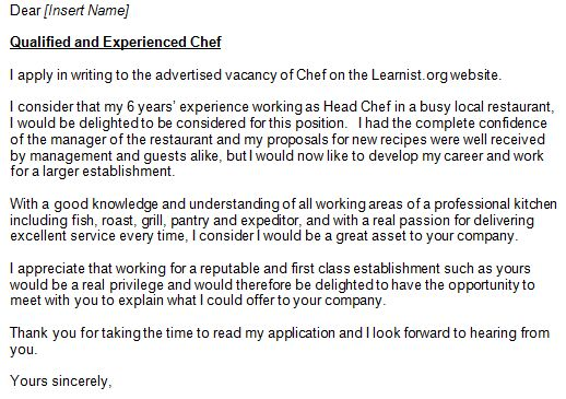 sample resume cover letter assistant cook job description chef ...