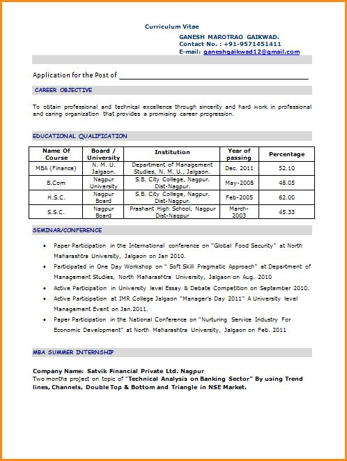 Remarkable Sample Resume For Mba Finance Freshers 35 In Cover ...
