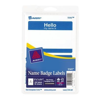 Avery 5141 Name Tag Labels, Blue, 100/Pack | Staples®