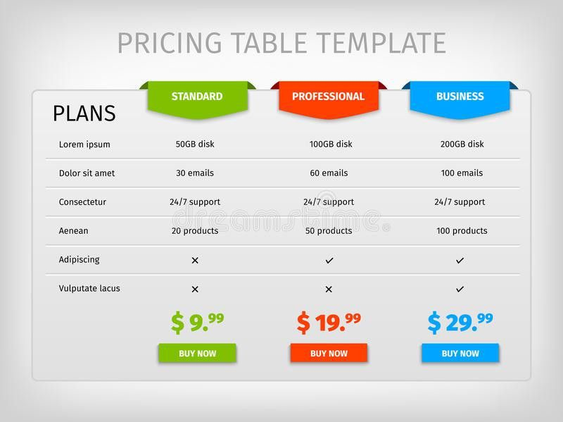 Colorful Comparison Pricing Table Template Stock Vector - Image ...