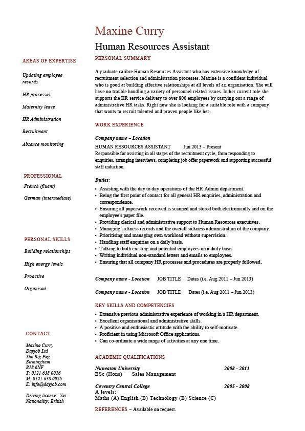 Human Resources Assistant resume, HR, example, sample, employment ...