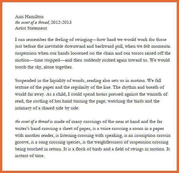 sample artist statement | bid proposal example