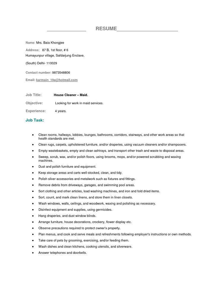 Housekeeping Job Summary Resume - Contegri.com