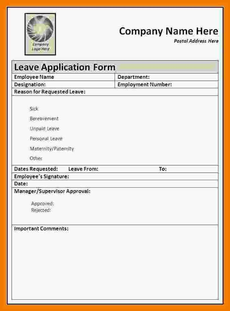Leave Request Form Template | Cvletter.csat.co
