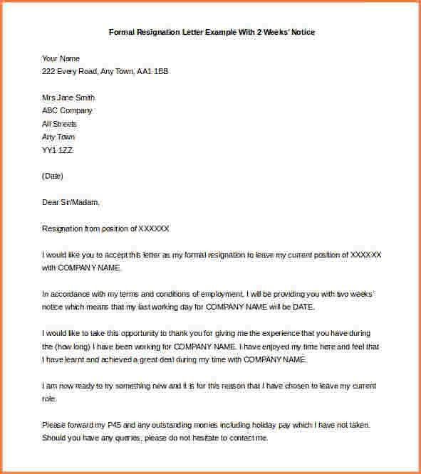 Formal Resignation Letters. 9+ Formal Resignation Letter Sample 9+ ...